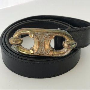 Celine Vintage Logo Belt Sz 28 Black Leather